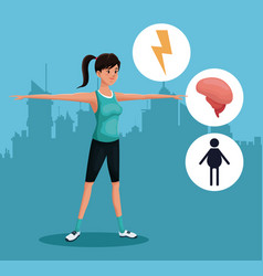 Woman sports exercise healthy urban background vector