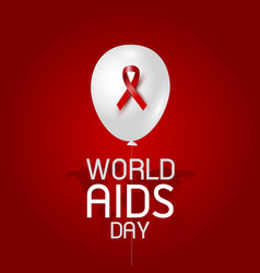 World aids day design of red ribbon and balloon vector