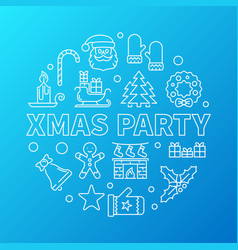 Xmas party blue round outline vector