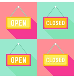Yellow Pink Cyan Open and Closed Signs Set vector