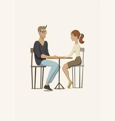 Young man and woman at table vector