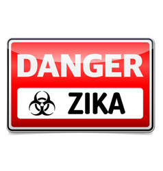 zika virus danger sign with reflect and shadow on vector image
