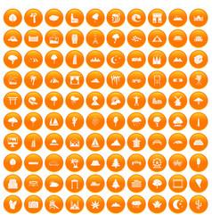 100 view icons set orange vector image