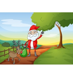 a santa claus and a reindeer vector image vector image