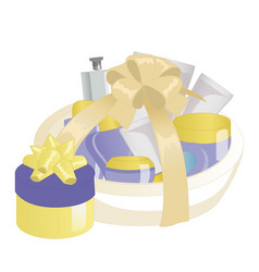 cosmetics gift set in a basket vector image vector image