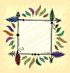 Decorative frame with arrows and feathers vector image