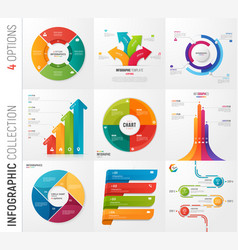infographic collection of 4 options vector image
