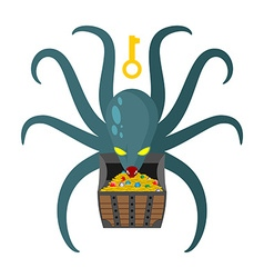 Octopus guarding pirate treasures Gold chest vector image vector image