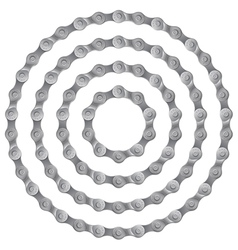 Set of round frames made of metal bicycle chain vector image