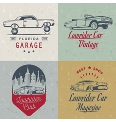 Set Vintage Lowrider Logo Badge and Sign vector image vector image
