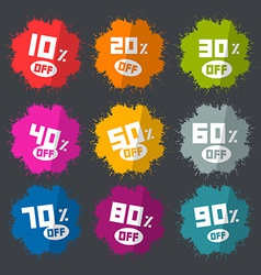 Splash Discount Labels Set on Dark Background vector image vector image