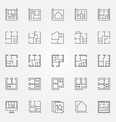 house plans icon set vector image