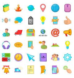 Calling phone icons set cartoon style vector
