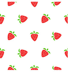 cute strawberry red and white seamless pattern vector image vector image