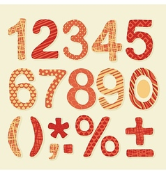 Textured Numbers Set vector image vector image