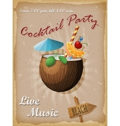 Cocktail party vintage poster coconut cocktail vector