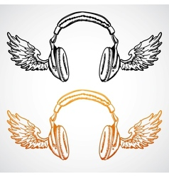 hand drawn concept Headphones with wings vector image