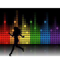 music equalizer and running girl vector image vector image