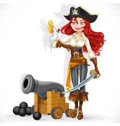 pirate girl with parrot and cannonry vector image vector image