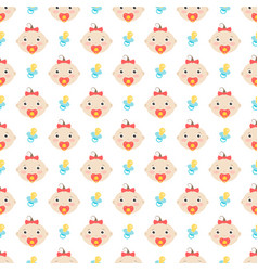 seamless pattern with baby girl vector image vector image