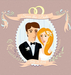 Vintage wedding invitation with happy couple vector image