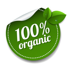 100 organic product label isolated white vector