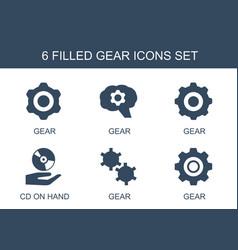 6 gear icons vector