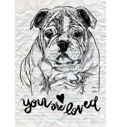 A hand drawn cute dogsketch dog pen vector