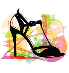 Abstract drawing of high heel female shoes vector