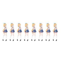 Anime manga schoolgirl in sailor suit blue skirt vector