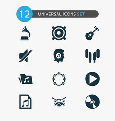 audio icons set with music lover tambourine vector image