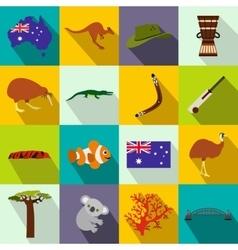 Australia icons flat vector