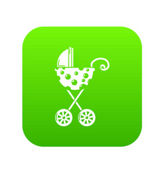baby carriage elegant icon green vector image