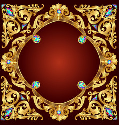 Background frame red with golden pattern vector