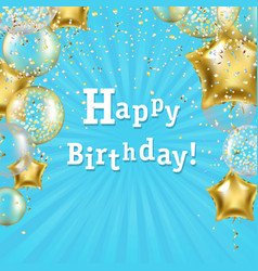 birthday poster with golden star balloons vector image