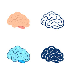 brain icon set in flat and line style vector image