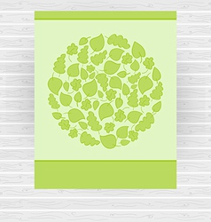 Bright green card made of circle with green leaves vector