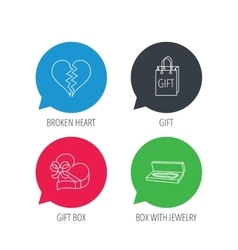 Broken heart gift box and wedding jewelry icons vector
