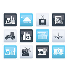 Business and industry icons over color background vector