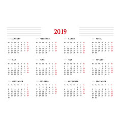 calendar for 2019 year on white background design vector image
