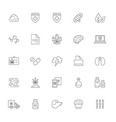 Cannabis production and shopping product icons vector