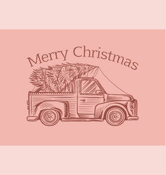 car with a christmas tree spruce in luggage vector image