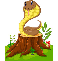 Cartoon funny snake on tree stump vector