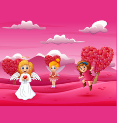 cartoon happy cupid mother with little fairy vector image