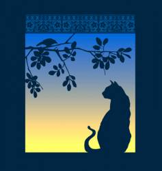 cat window vector image