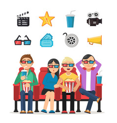 Characters set of funny peoples watching film vector