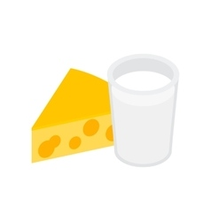 Cheese with milk isometric 3d icon vector
