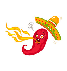Chili with sombrero for mexican food vector