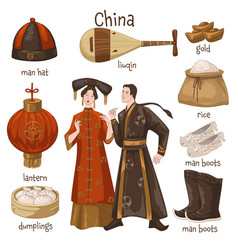 chinese culture and traditions man and woman vector image
