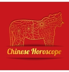 Chinese horoscope background with golden tiger vector